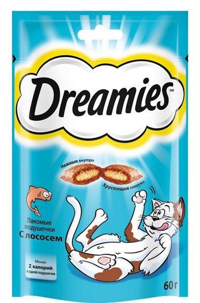 Лакомства Dreamies Лакомство для кошек Подушечки с Лососем