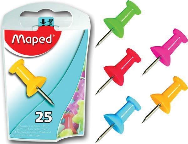 Кнопки, скрепки, зажимы для бумаг Кнопки-гвоздики MAPED круглые 10мм, цветные, 25шт, блистер