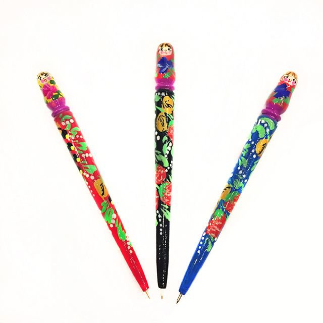 Ручка сувенир Матрешка деревянная шариковая 180*15