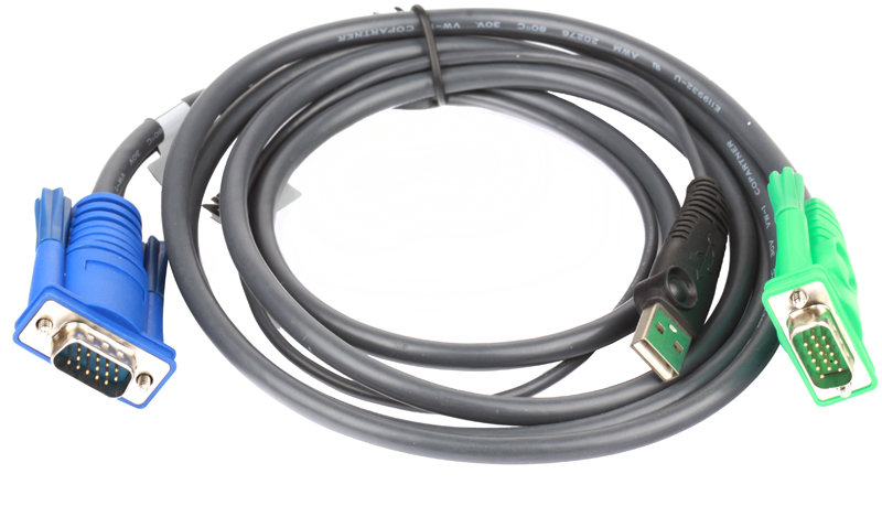 Кабель ATEN KVM Cable 2L-5202U Кабель для KVM: USB(Am)+DB15(m) (PC) -на- SPHD15(m) (KVM),1.8м