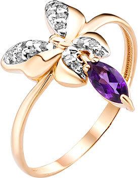 Золотое кольцо Ювелирные Традиции K122-4394AM с аметистом, фианитами, размер 17,5 мм