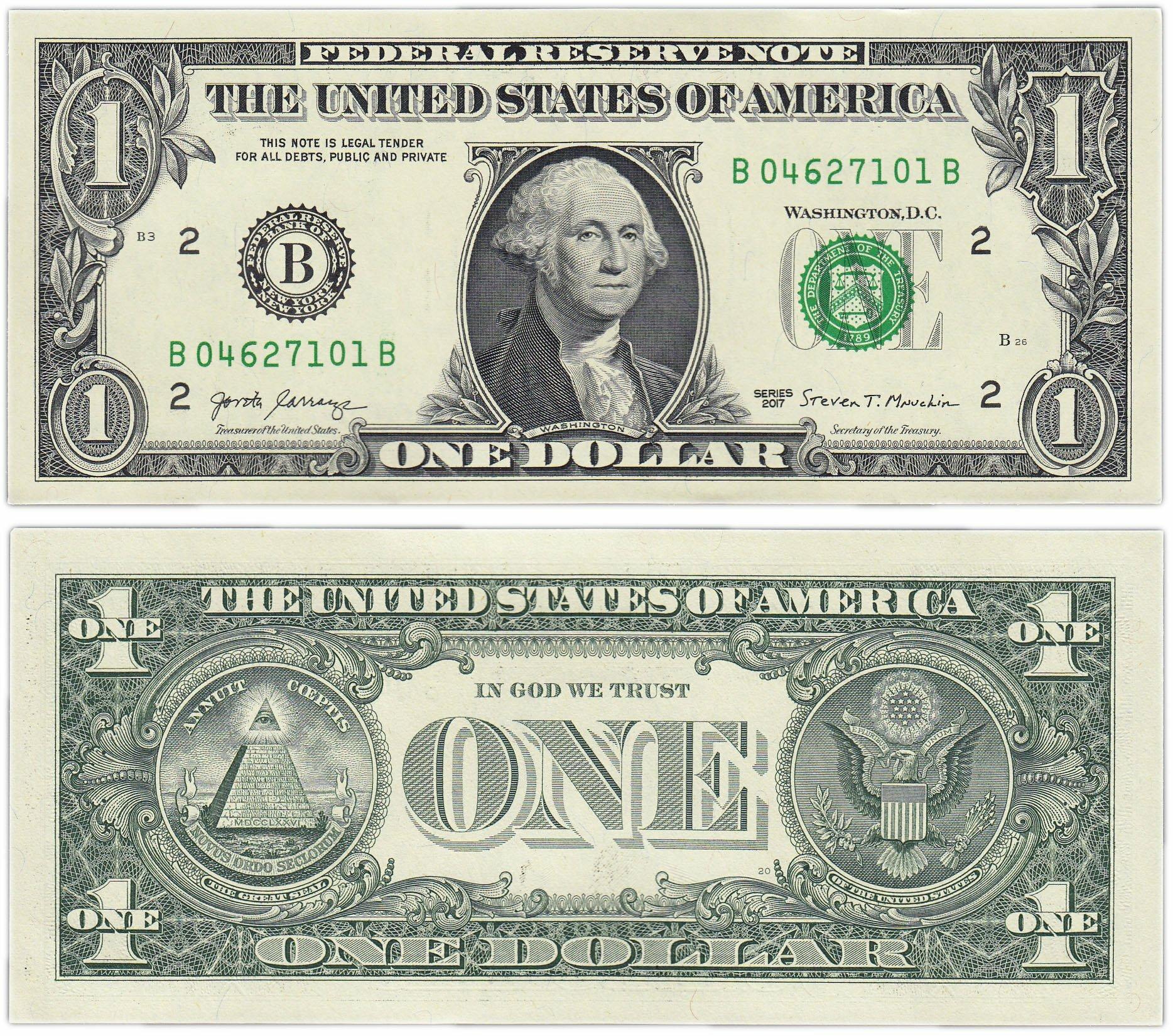Банкнота США 1 доллар 2017 (Pick 537b) T350226