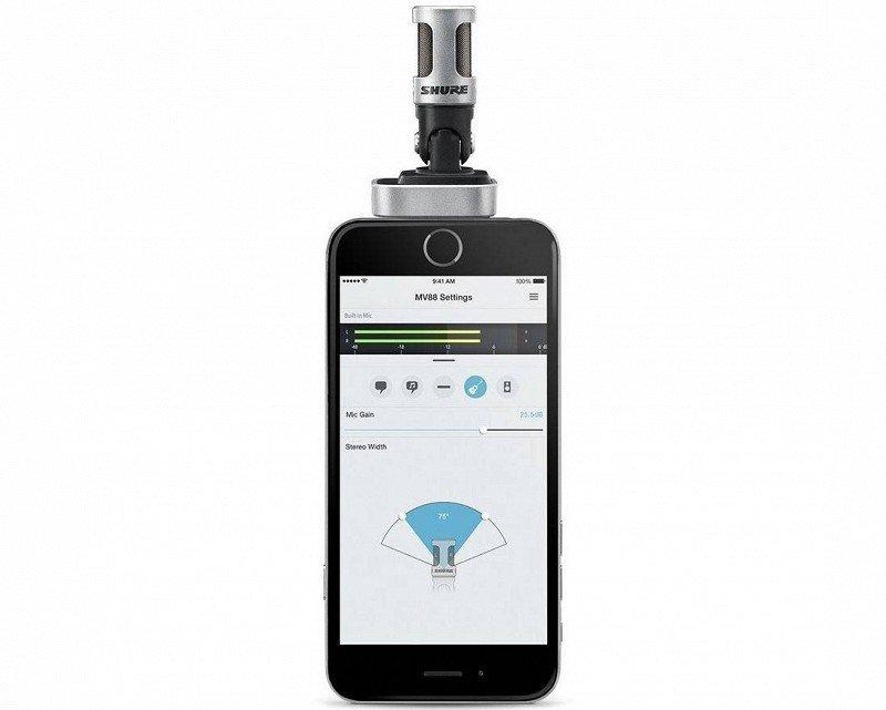 SHURE MOTIV MV88 цифровой конденсаторный стерео микрофон для записи на устройства Apple с разъемом Lightning