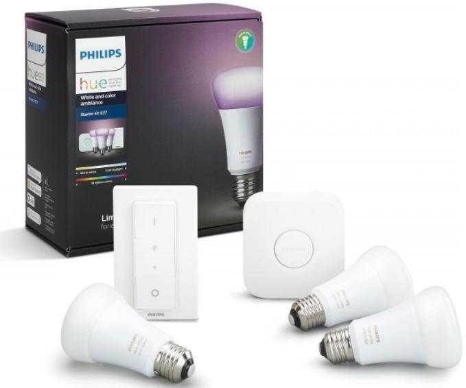 Комплект умных ламп Philips Hue White and Color Ambiance E27 Starter Kit с пультом ДУ и блоком управления