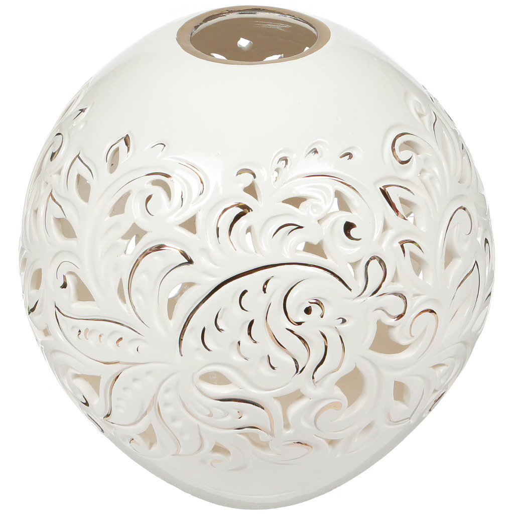Ваза для цветов керамическая настольная, 24 см, Шар резка
