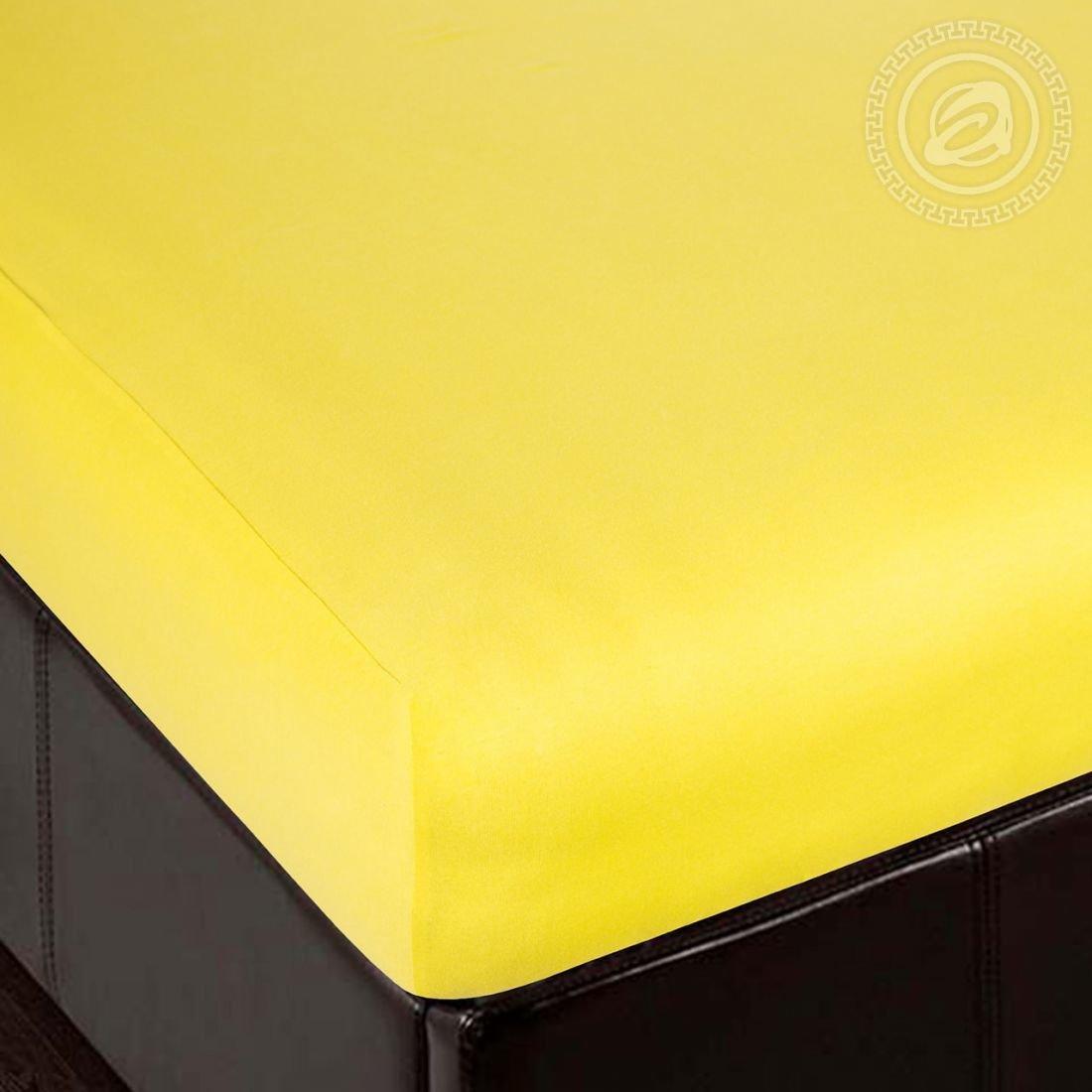Простынь лимон - простынь на резинке, размер 120х200, ткань трикотаж, Артпостель