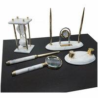 Набор настольный подарочный Delucci, 6 предметов, белый мрамор с золотой отделкой, часы в комплекте