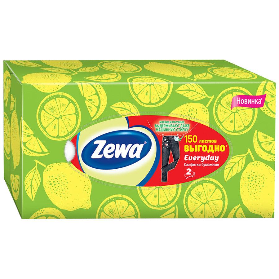 Салфетки бумажные косметические Zewa Everyday 2 слоя, 150шт