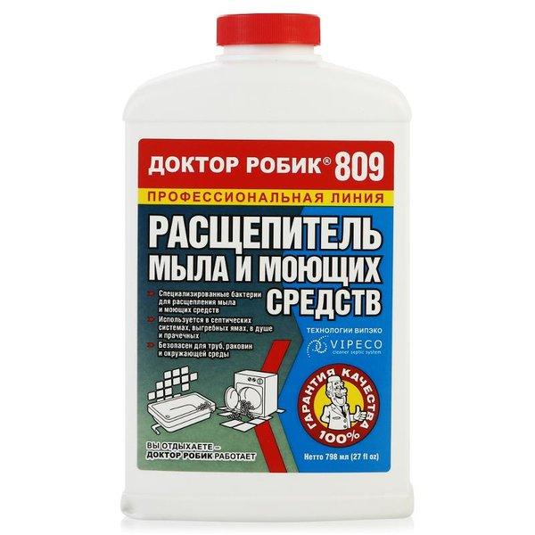 Биопрепарат расщепитель мыла Доктор Робик 809, 798мл