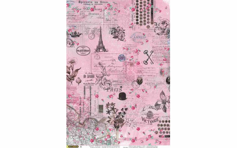 """Рисовая бумага CraftPremier. Плотность - 20 гр/кв.м., """"Париж. Винтаж"""" , размер А4"""