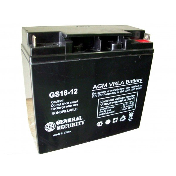 Аккумулятор 18 А/ч, 12 В.