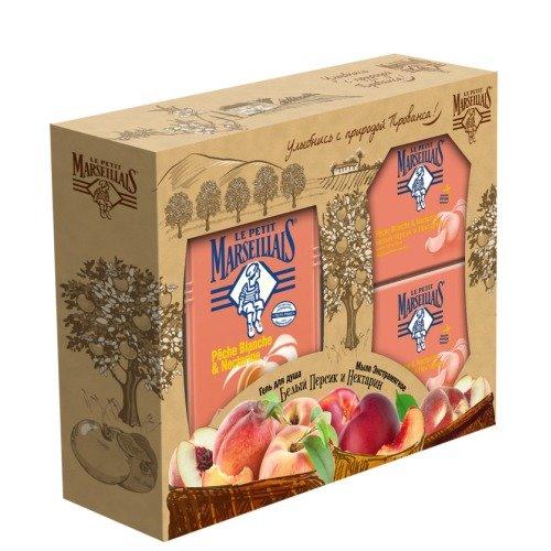 """Подарочный набор Le Petit Marseillais """"Белый персик и нектарин"""" (гель для душа + экстрамягкое мыло)"""