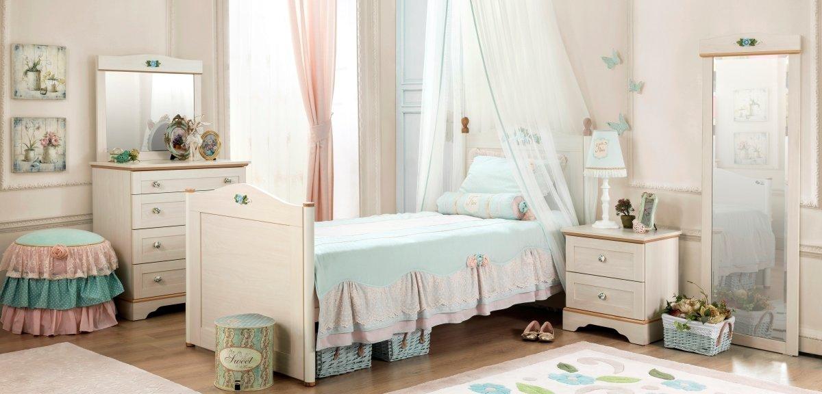 Flora Детская комната с комодом (кровать, тумба, комод, зеркало к комоду, зеркало, пуф) (Cilek)