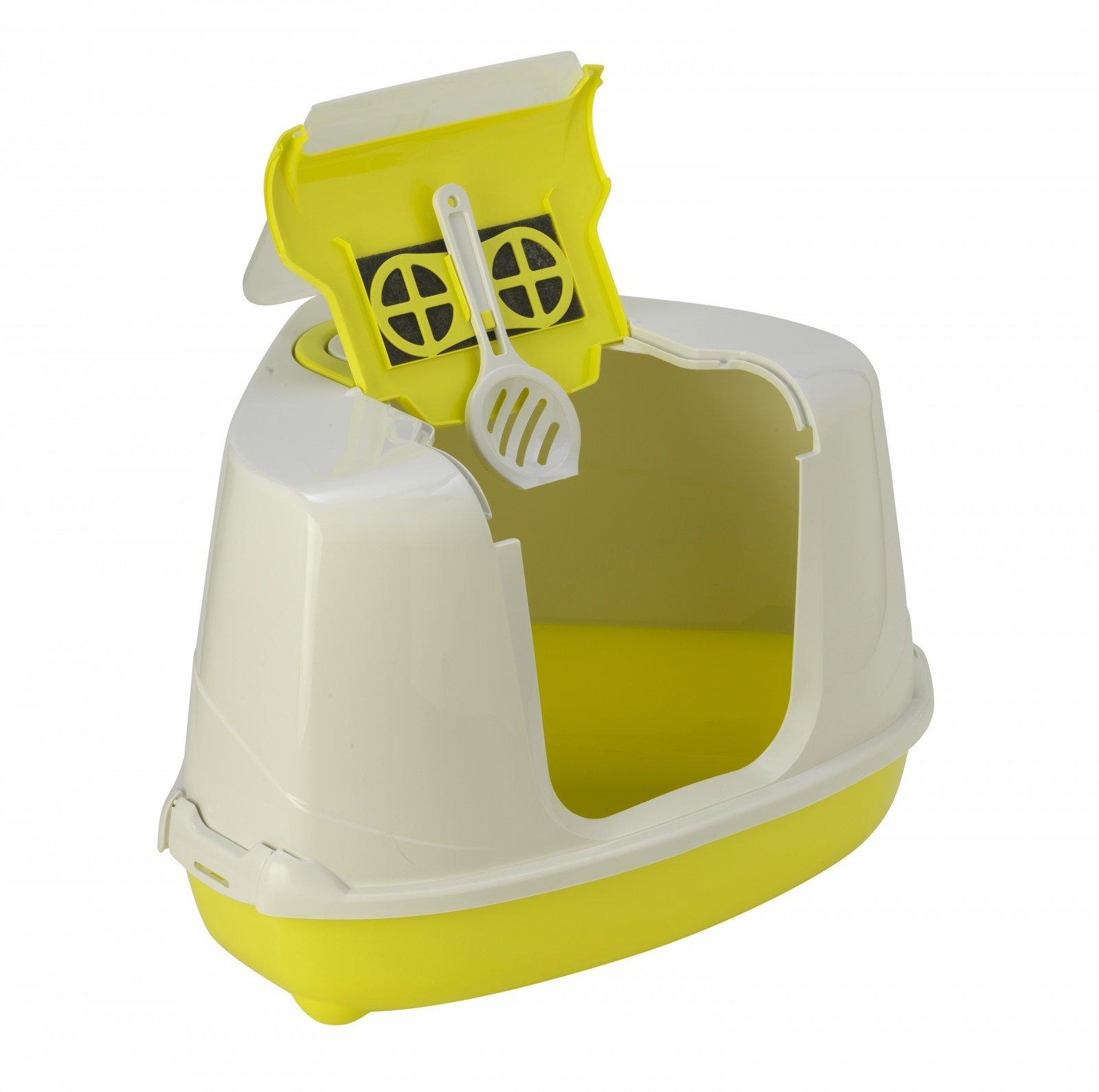 Moderna Туалет-домик угловой Flip с угольным фильтром, 55х45х38см, лимонно-желтый (1,6 кг)