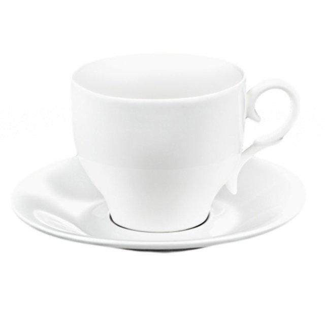 чашка с блюдцем wilmax 220 мл фарфор белый