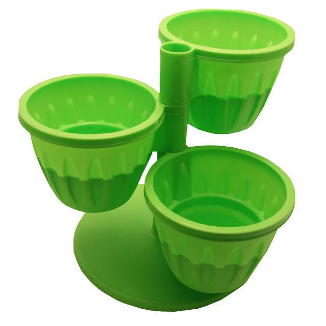 каскад д/3 горшков пластик зеленый