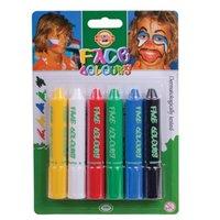 Грим для лица KOH-I-NOOR, 6 цветов (белый, желтый, красный, синий, зеленый, черный), блистер с европодвесом, 4610006001BL