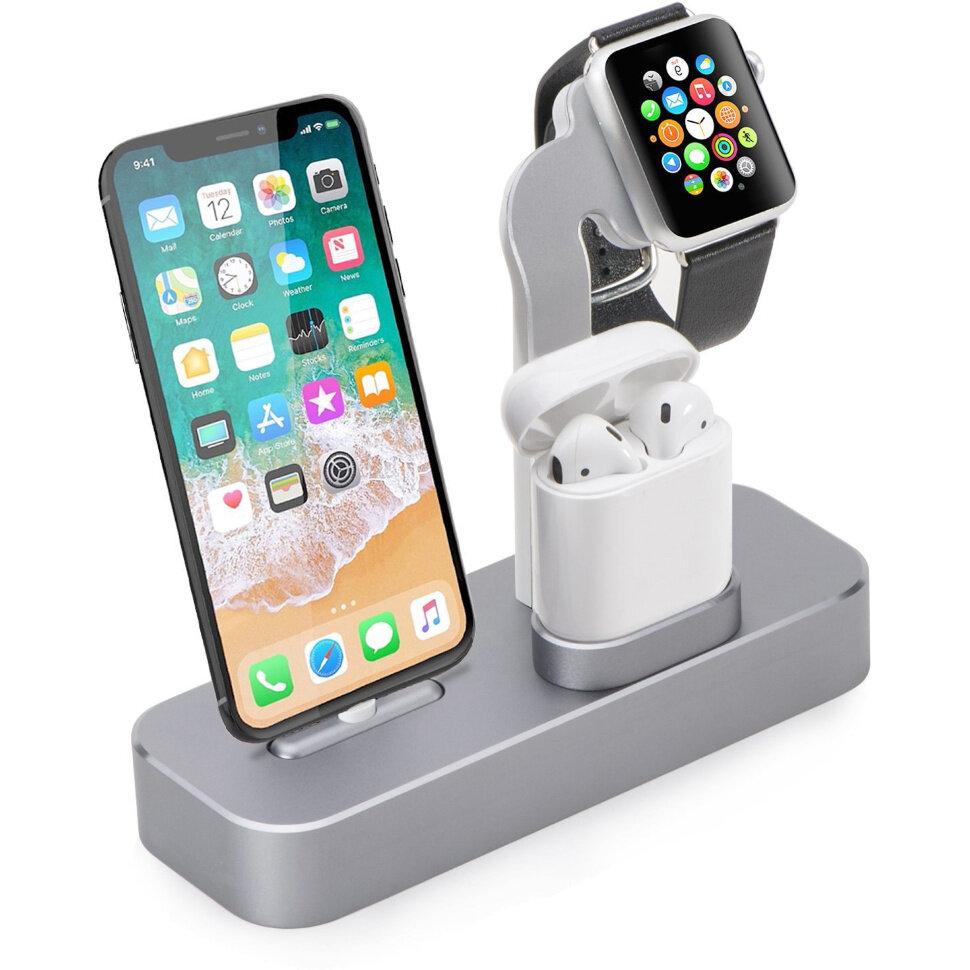 COTEetCI Base19 (CS7201-TS) для Apple Watch/iPhone/AirPods - Док-станция 3-в-1 (Space Gray)