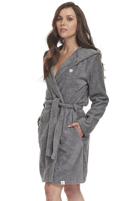 Doctor Nap Женский махровый халат с поясом и капюшоном серый (серый / S(42))