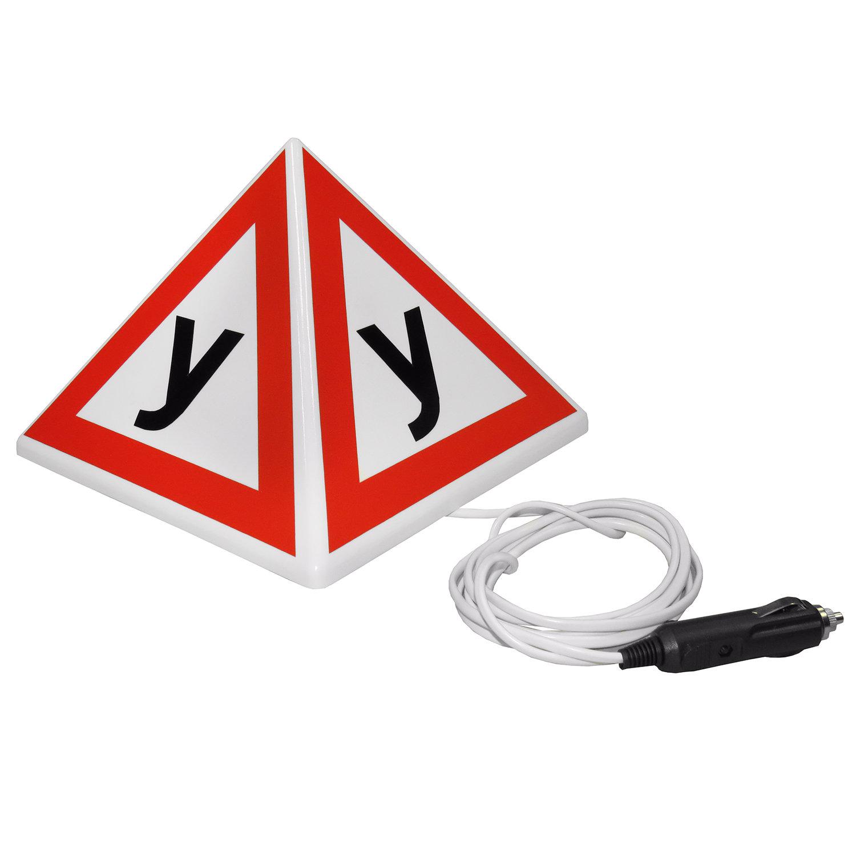 """Знак """"У"""" (Ученик, Учебное ТС) с подсветкой (четырехгранная пирамида на магнитах)"""