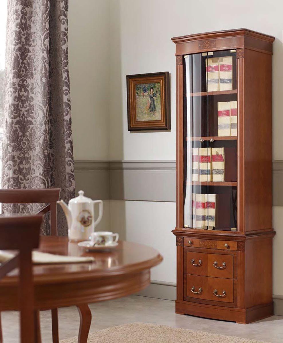 Библиотека/Книжный шкаф со стеклом Panamar Орех 62х201х44 арт. 827.001Р/837.000Р