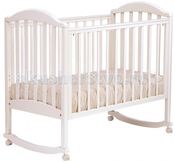 Детская кроватка Кубаньлесстрой АБ 17.0 Лилия Люкс качалка без ящика Белый