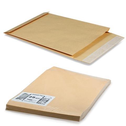 """Конверт-пакет объемный """"Extrapack"""", 25 штук, коричневый"""