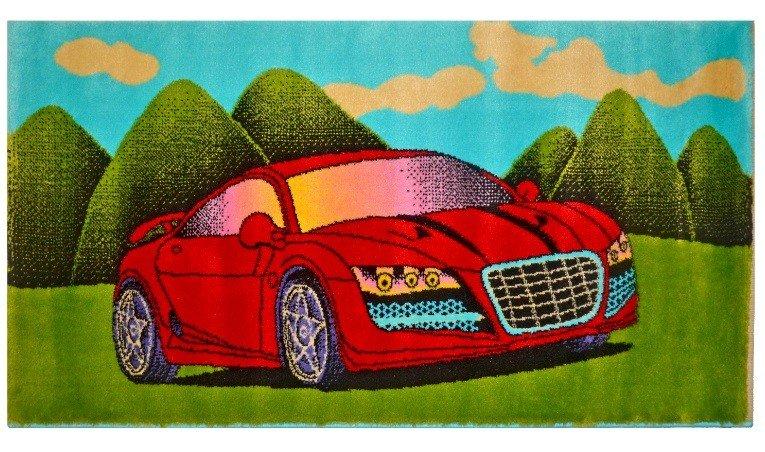 "Ковер ""Kamalak tekstil. Красная машинка"", 100x150 см"