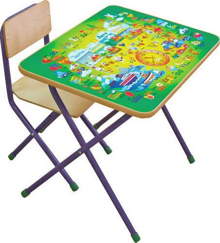Комплект детской мебели Фея Досуг № 201 Алфавит, цвет: зеленый
