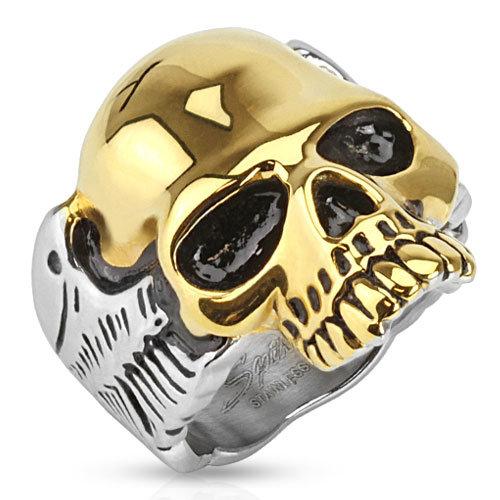 Кольцо байкерское Золотой череп
