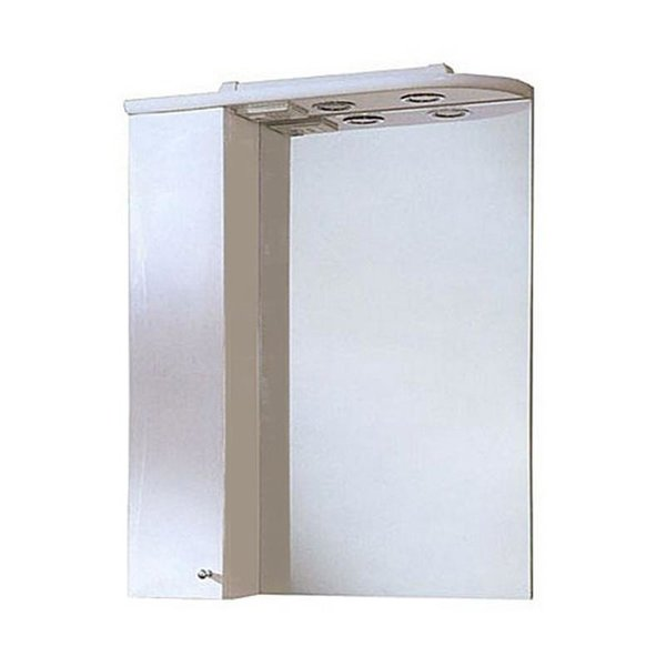 Шкаф зеркальный Акватон Джимми 57 левый, со светильником, белый глянцевый