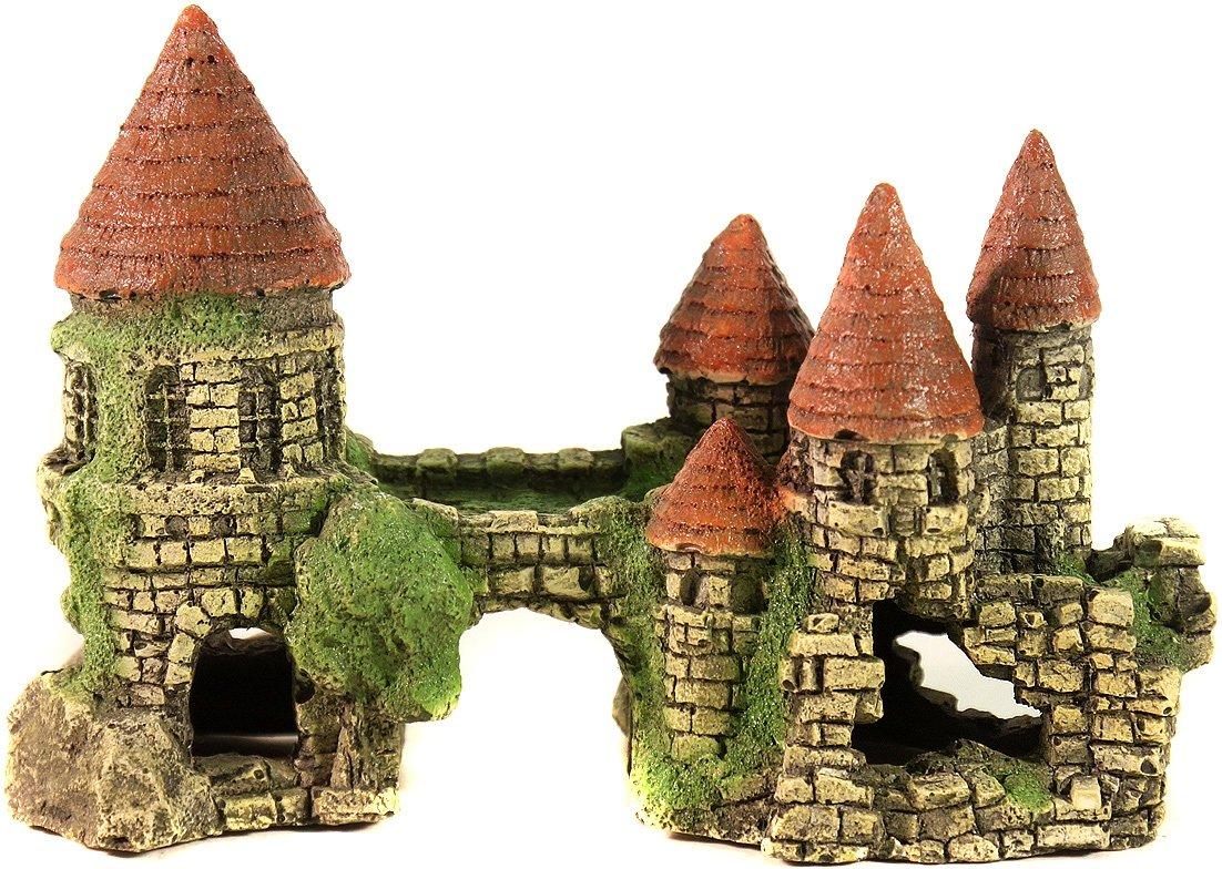 Аквариумная декорация Замок с цветной крышей DEKSI № 101