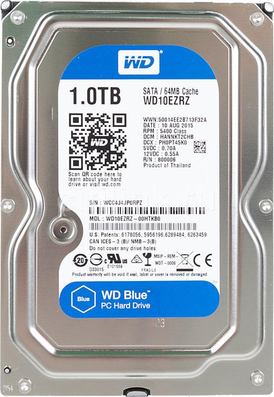 "Жесткий диск WD Blue WD10EZRZ, 1Тб, HDD, SATA III, 3.5"""