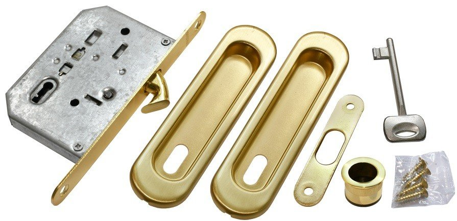 Фурнитура Morelli (Морелли) MHS150 L SG Комплект - ручки, замок под ключ-буратино цвет - матовое золото