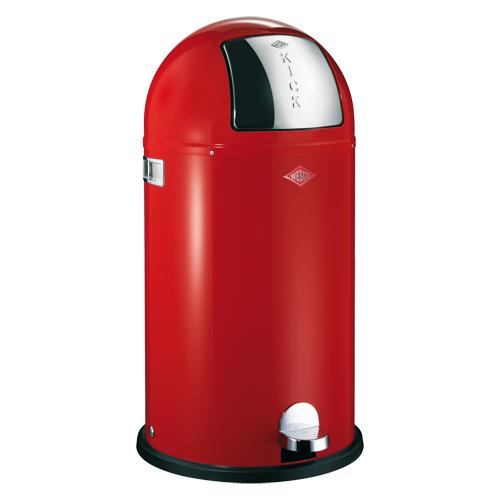 мусорные баки и контейнеры Wesco Металлический бак для мусора с педалью и крышкой Kickboy, 40 л, красный