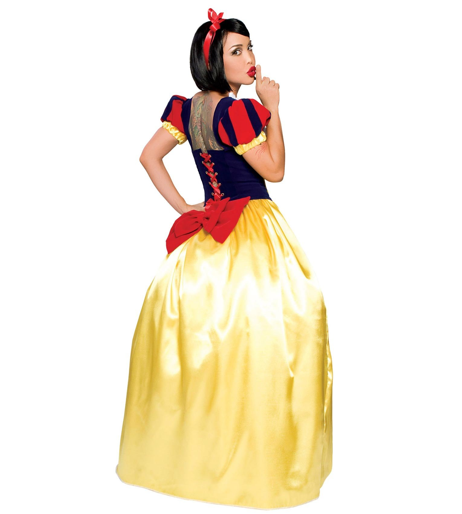 Become the princess who was always the fairest of them all in this Womens Snow White Costume Its an elegant dress of luxurious stretch velvet and shimmery