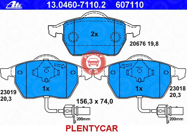 13-0460-7110-2 ATE Комплект тормозных колодок, дисковый тормоз