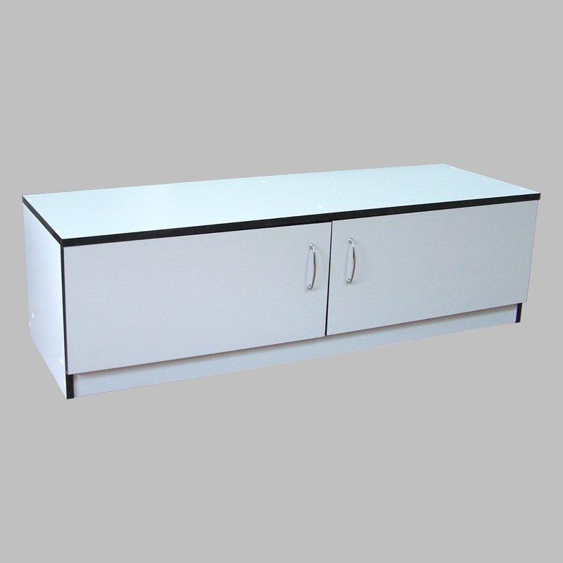 Торговая тумба (накопитель) для магазина, напольная, с распашными дверями, белый Н-35-Д(бел)