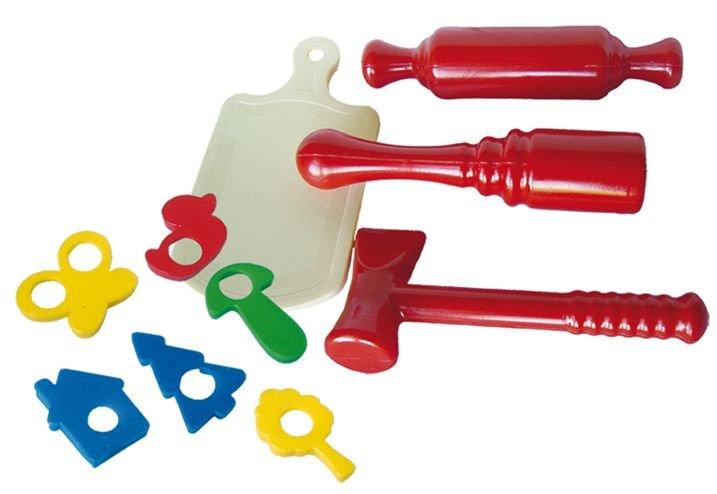 Детский набор кухонных инструментов толкушка, скалка, молоток, доска, формочки Совтехстром
