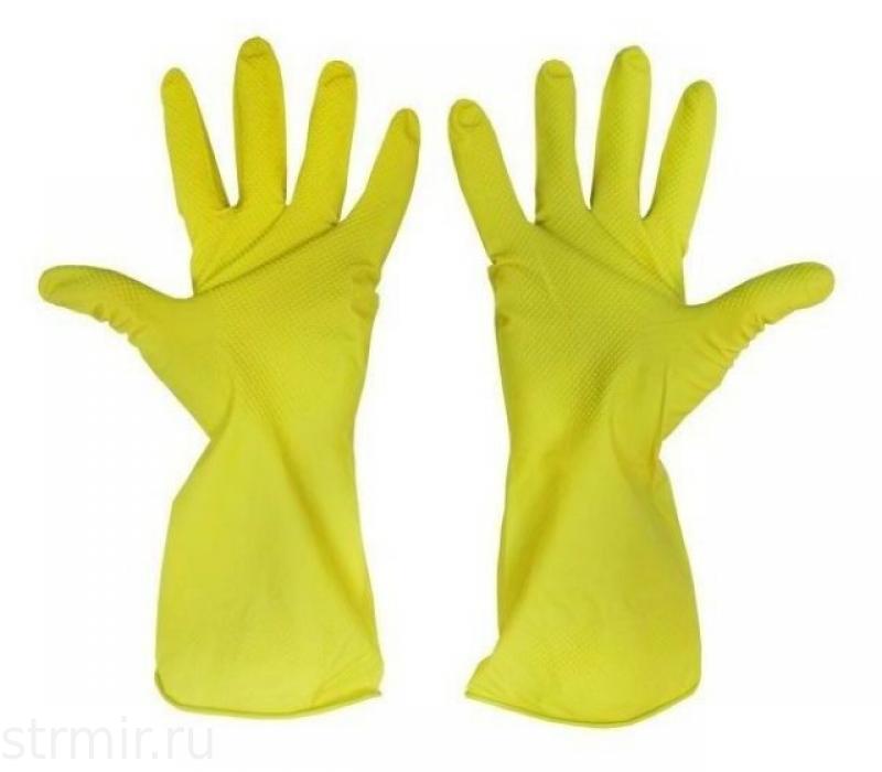 Перчатки хозяйственные латексные XL желтые ,12пар