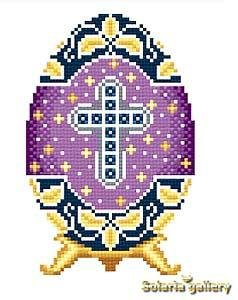 Solaria Яйцо Фаберже Серебряный крест на фиолетовом 6118-04
