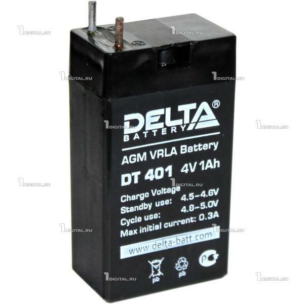 Аккумулятор DELTA DT-401 (4В, 1Ач / 4V, 1 Ah) для слаботочных систем, фонариков.