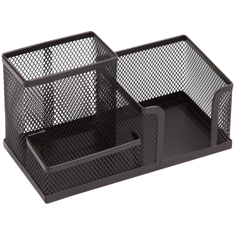 Настольный органайзер (канцелярский набор) Berlingo Steel&Style, металлическая, 3 секции, черная