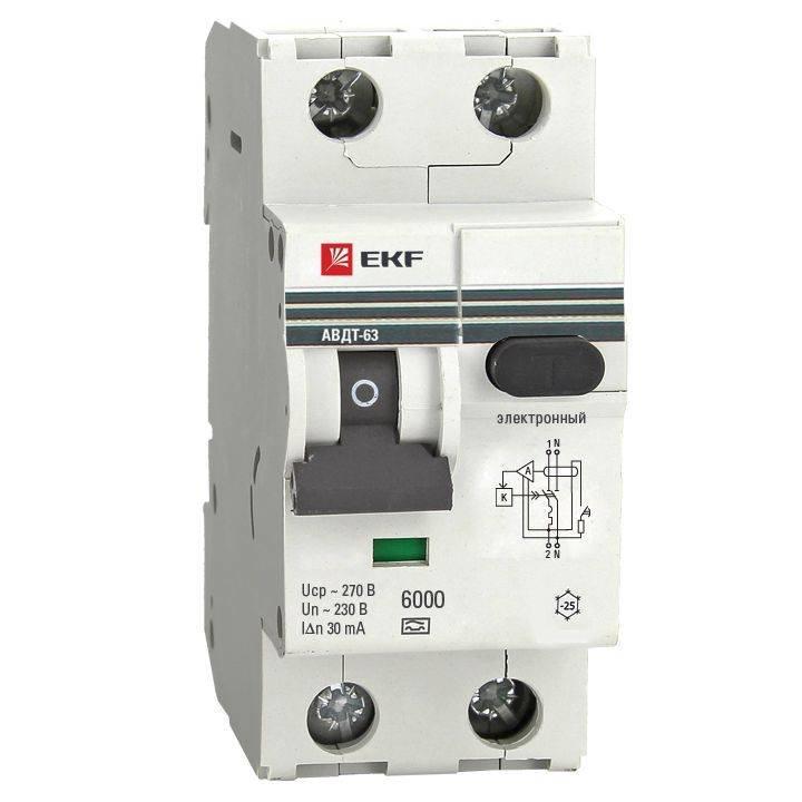 EKF Выключатель автоматический дифференциальный АВДТ-63 2п 16А 30мА С