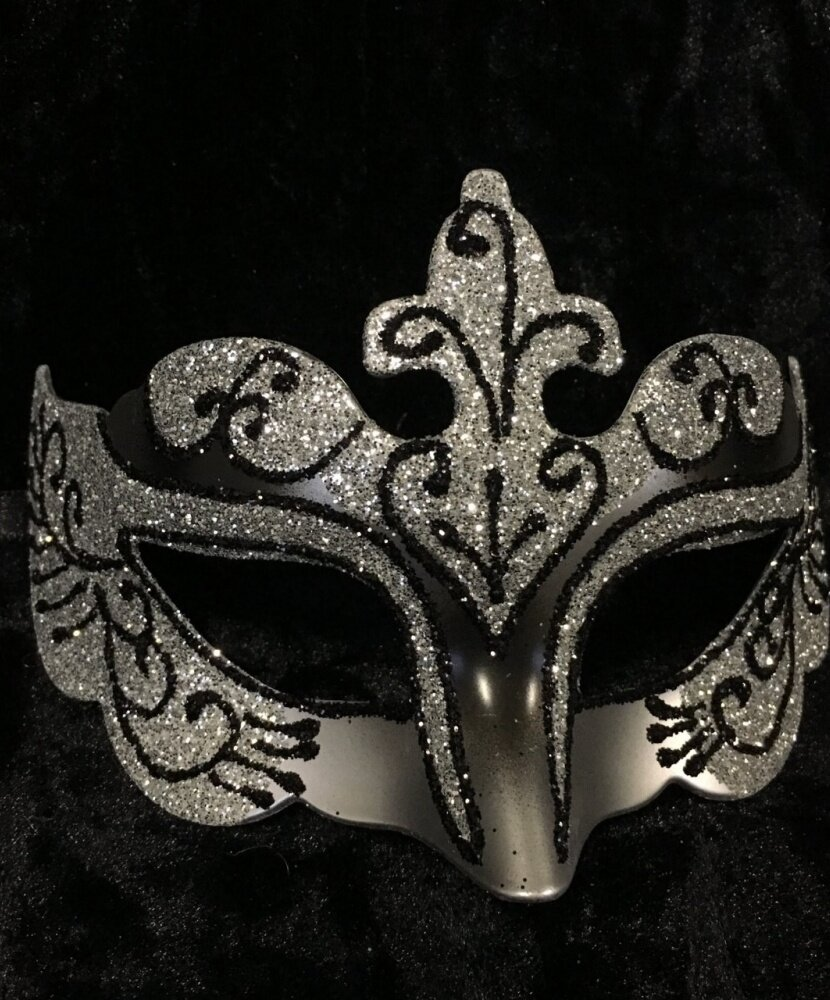 Карнавальная маска с блестками (красная)