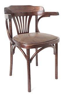 Мягкое деревянное кресло (экозамша коричневая) арт. 701403