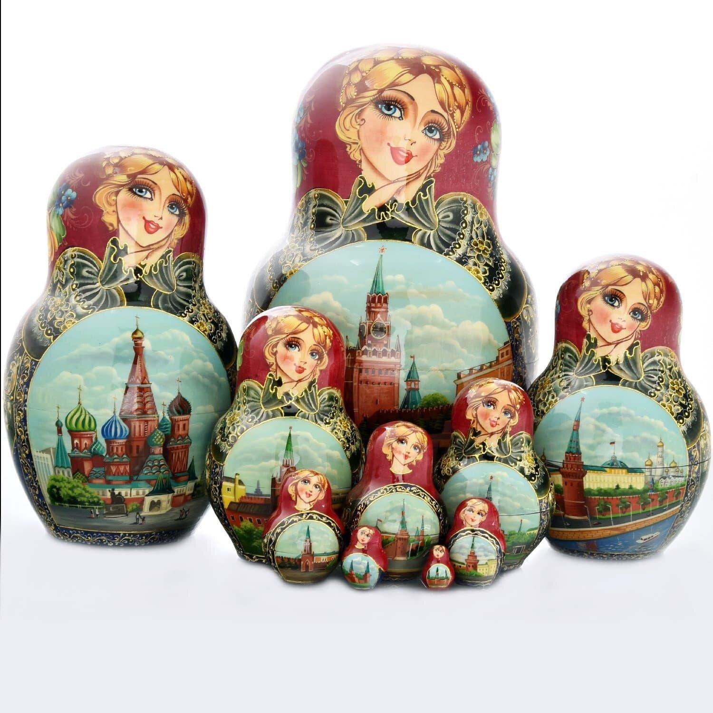 Матрешка «Москва. Спасская башня» 10 мест