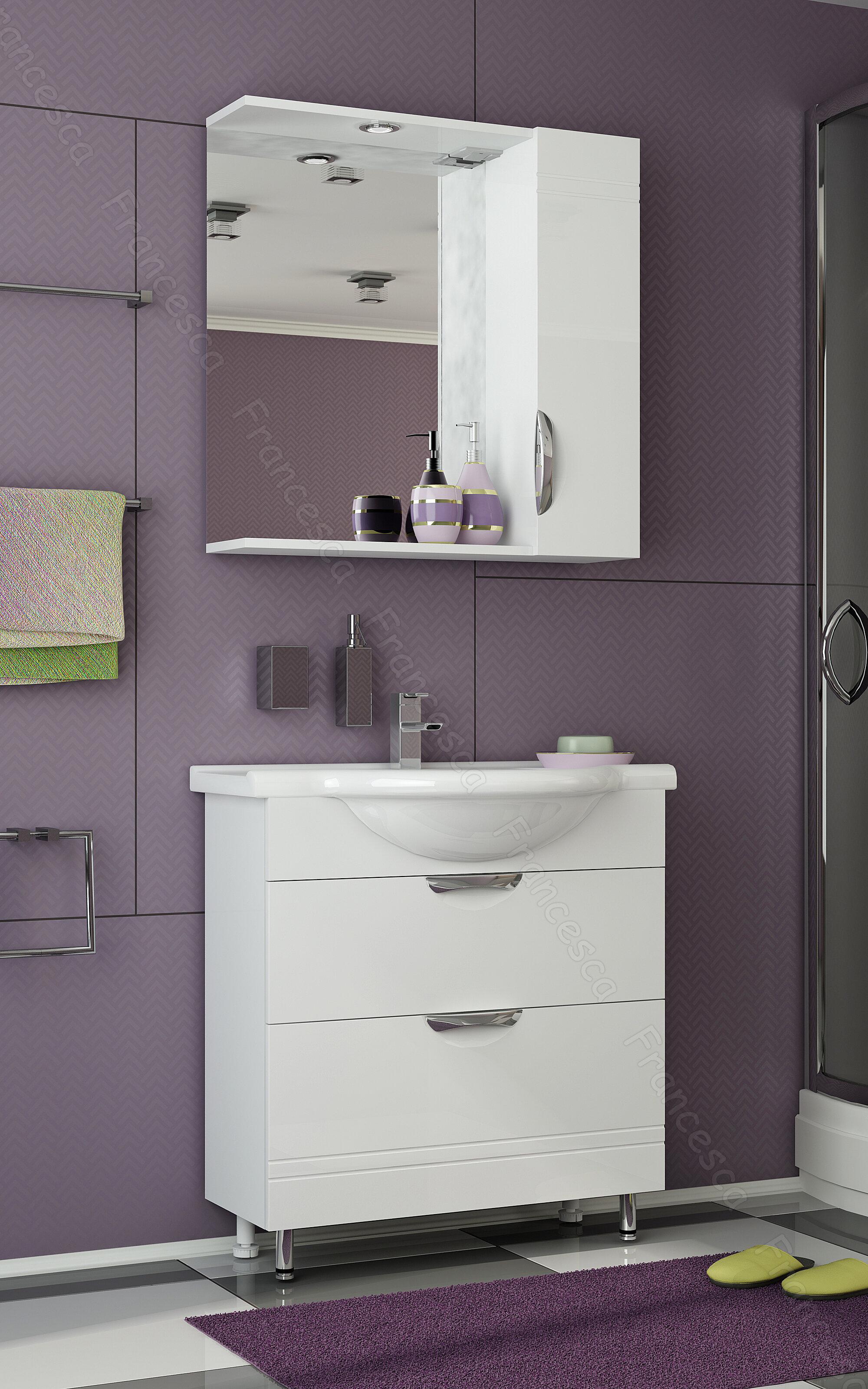 Мебель для ванной Francesca Доминго 75 2 ящика (тумба с раковиной + зеркало)