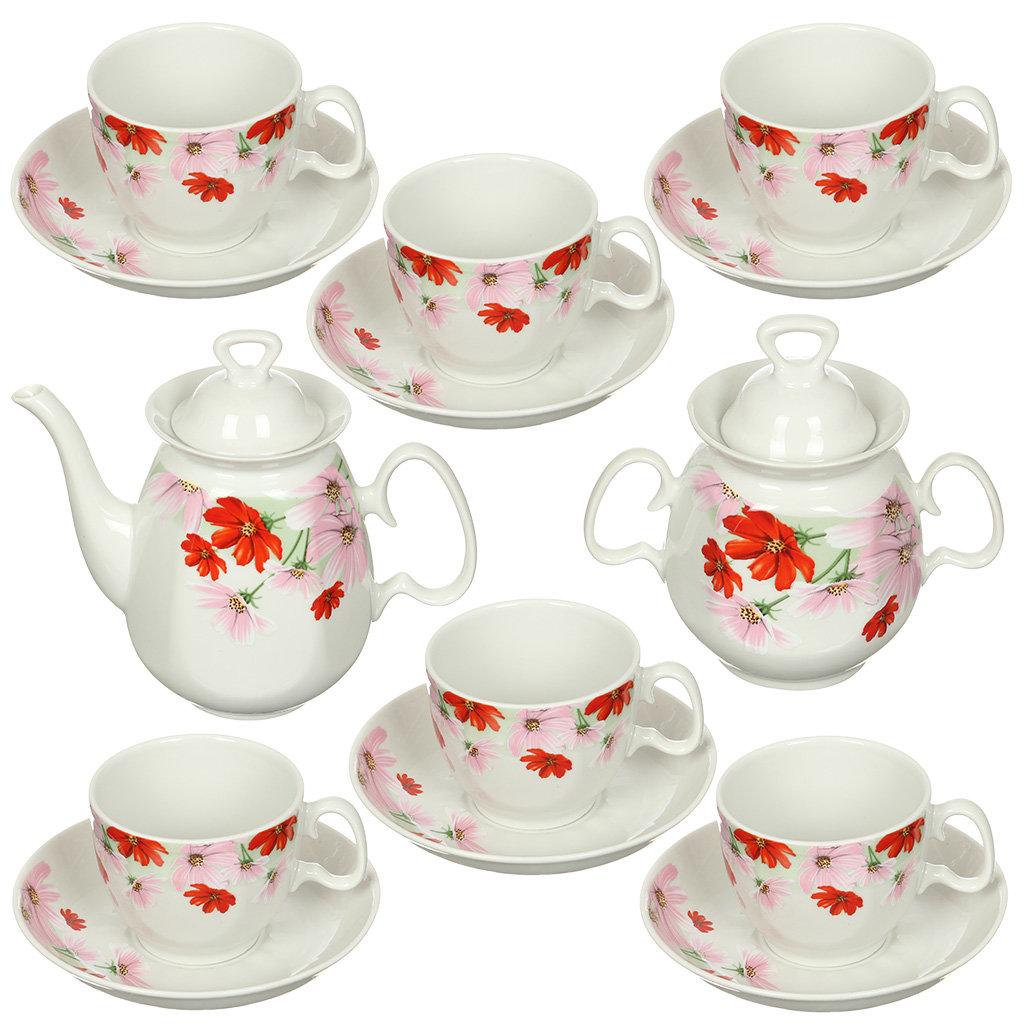 Сервиз чайный из фарфора, 14 предметов, Реванш Космея 4С0367 Добрушский фарфоровый завод