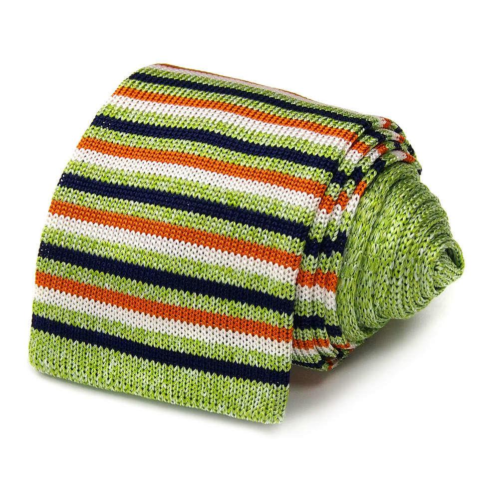 Вязаный галстук с зелеными полосками Maurizio Milano 827564